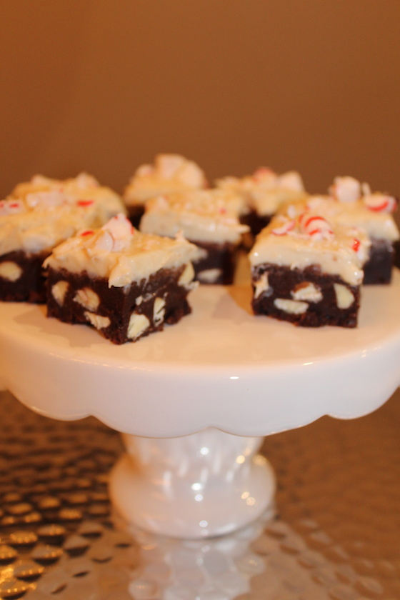 Peppermint White Chocolate Brownies + recipe | Glitter & Grace Blog #winterrecipe #chocolate #mint