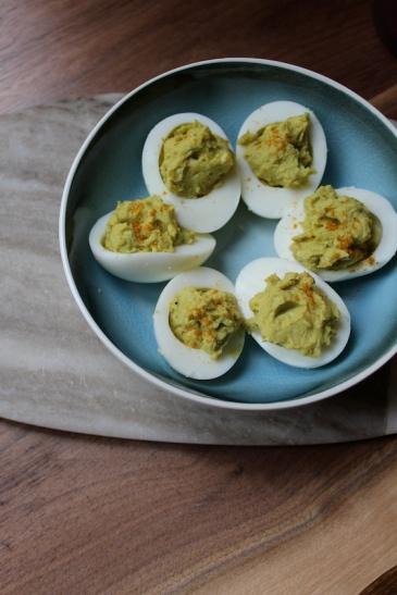 Curried Avocado Deviled Eggs + recipe | Glitter & Grace Blog #avocado #curry