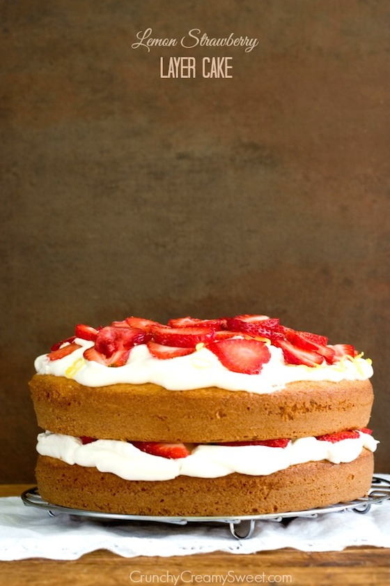 Lemon Strawberry Layer Cake from Crunchy Creamy Sweet | Glitter & Grace Blog