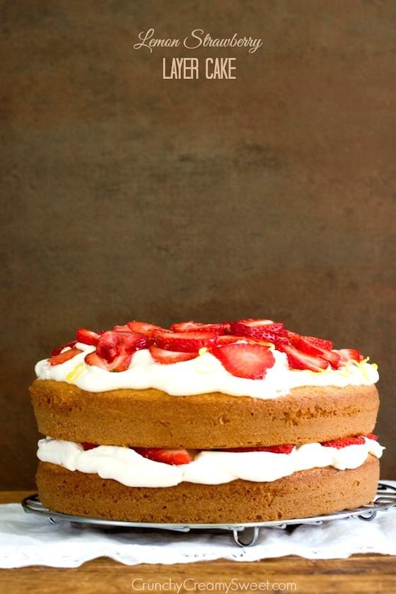 Lemon Strawberry Layer Cake from Crunchy Creamy Sweet | Glitter & Grace Blog