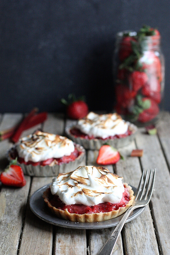 Strawberry Rhubarb Meringue Tartlets from Completely Delicious | Glitter & Grace Blog