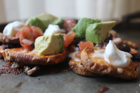 Sweet Potato Nachos + recipe | Glitter & Grace Blog #sweetpotato #vegetarian #mexican