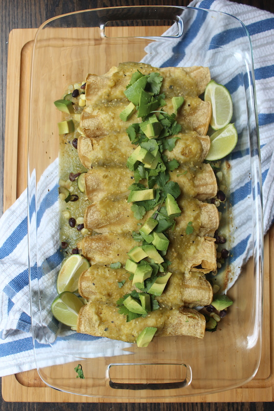 Summer Vegetable Enchiladas + recipe | Glitter & Grace Blog #summerrecipe #enchiladas #mexican #vegan