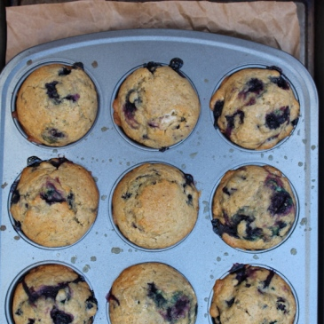 Whole Wheat Blueberry Muffins + recipe | Glitter & Grace Blog #summerrecipe #blueberry #wholewheat #muffinrecipe