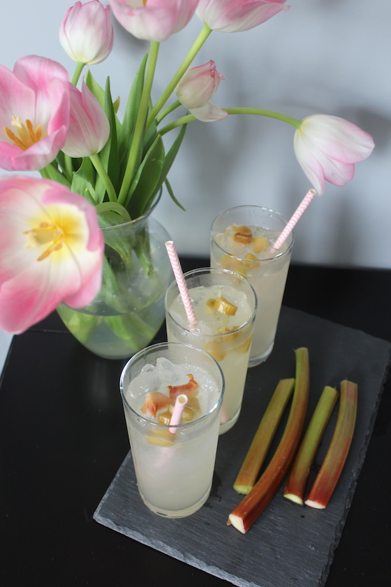 Rhubarb Lemon Spritzer + recipe | Glitter & Grace Blog #springrecipe #rhubarb #lemon #mocktail #picnicrecipe