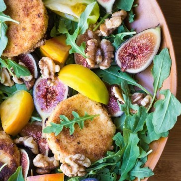 Fig and Fried Goat Cheese Salad with Nectarine Vinaigrette from The View From Great Island